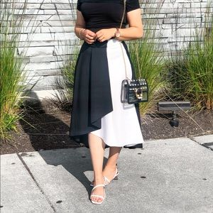 Two Tone Asymmetric A Line Midi Skirt